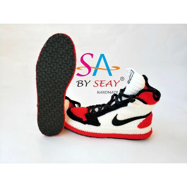 "Knitting Style Air Jordan 1 Retro High OG""BRED TOE"" Sneaker/Slippers, Basketball Shoes Flyknit Jumpman, BySeay"