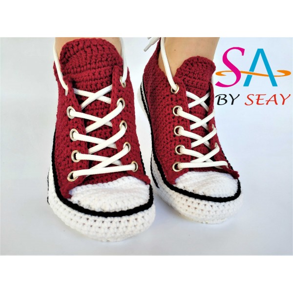 52399044002c Crochet Handmade Mens Womens Slip-On House Crochet Converse Low Top Maroon  Color Slippers