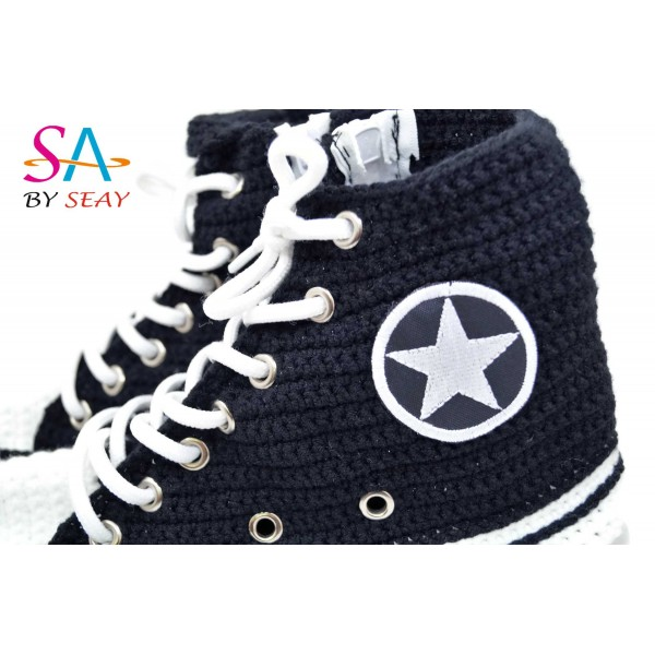 Crochet High Top Black Handmade Crochet Knitting Breathable Comfortable Slippers Sneakers Women And Men Home Slippers, BySeay