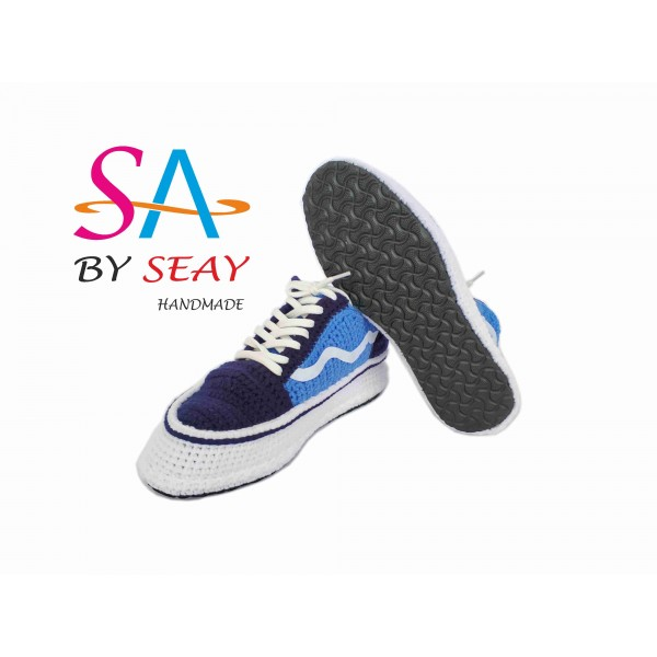 b437b66ea73d95 Crochet Style Old Skool Low-Top Unisex Black Navy .
