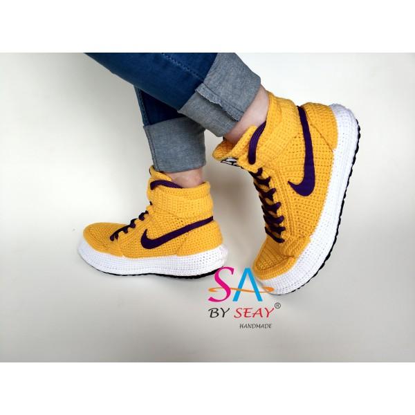 "Handmade Knitting Style Air Jordan 1 Retro High""YELLOW PURPLE"" Custom Home Sneakers Men/Women Crochet Slippers Personalized Gift"