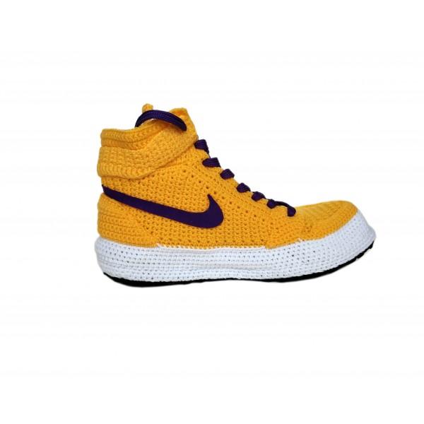"Handmade Knitting Style Air Jordan 1 Retro High""YELLOW PURPLE"" Custom Home Sneakers Men/Women Crochet Slippers Personalized Gift, Sneakers Slippers"