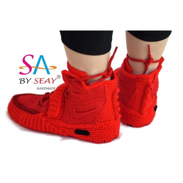 size 40 58d1b e09c4 Knitting Style Custom Air Yeezy 2 Red October Sneaker ...