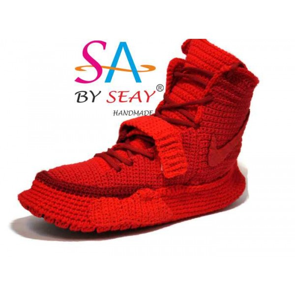 Crochet Style  Air Yeezy 2 Red October Knitted Slippers, Air Yeezy 2 Red October Men's High Top Ankle Boots Lace Up Knitting Sneaker Slippers, BySeay