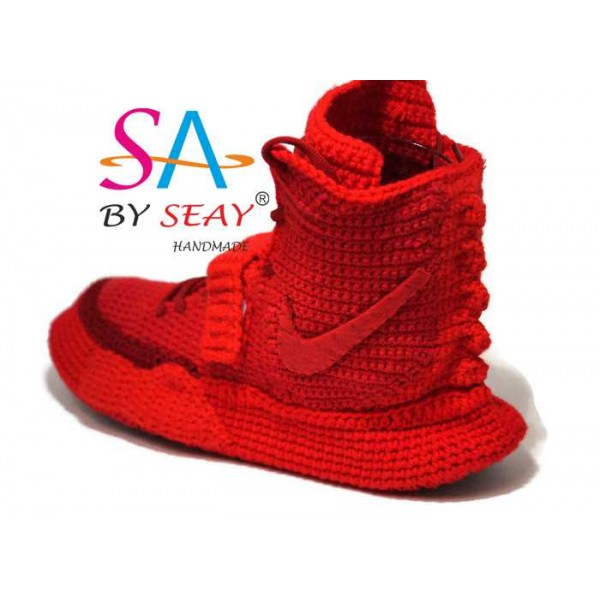 Crochet Style  Air Yeezy 2 Red October Knitted Sli...