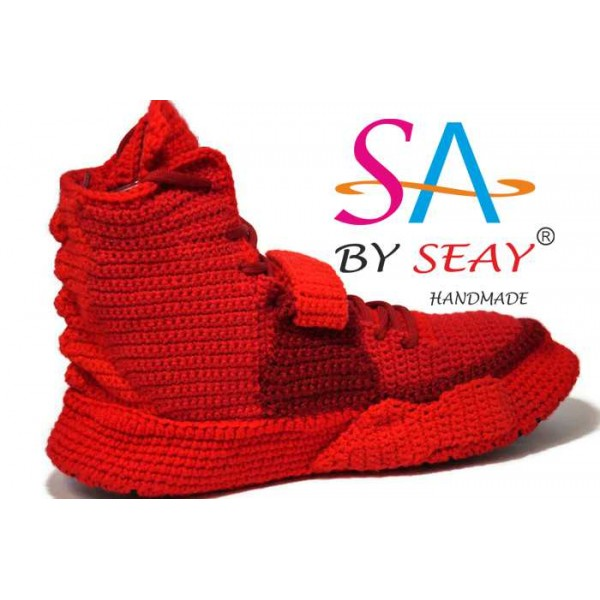 a72ff42201f0 Knitting Style Custom Air Yeezy 2 Red October Sneaker Slippers