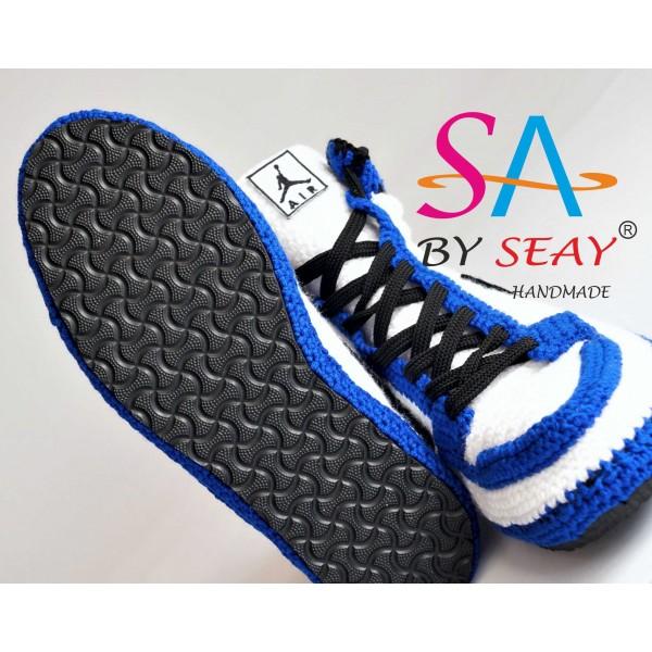 Crochet Style Air Jordan 1 Retro High OG BG Storm Blue Slipper, Air jordan Blue Knitting Sneaker, Air Jordan Flyknit Crochet Slippers, BySeay