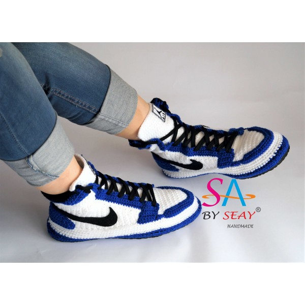 8727a891177 Crochet Style Air Jordan 1 Retro High OG BG Storm Blue Slipper, Air jordan  Blue