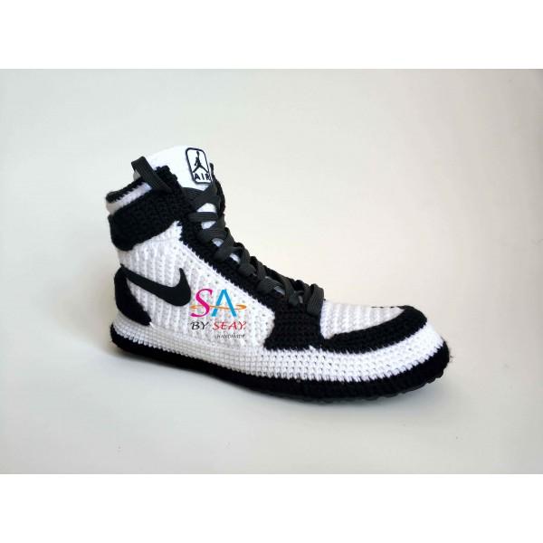 """Handmade Knitting Style Air Jordan 1 Retro High""""Black White"""" Custom Home Sneakers Men/Women Crochet Slippers Personalized Gift"""