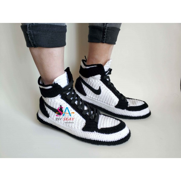 "Handmade Knitting Style Air Jordan 1 Retro High""Black White"" Custom Home Sneakers Men/Women Crochet Slippers Personalized Gift"