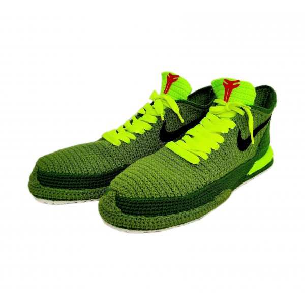 Kobe Bryant Grinch Green Christmas Slippers, Kobe 6 Protro Shoes 2020, Knitted NBA Sneakers, Handmade Custom Home Sneakers Slippers Crochet